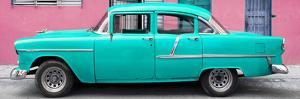 Cuba Fuerte Collection Panoramic - Classic American Turquoise Car in Havana by Philippe Hugonnard
