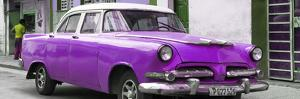 Cuba Fuerte Collection Panoramic - Classic Purple Car by Philippe Hugonnard