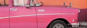 Cuba Fuerte Collection Panoramic - Close-up of Retro Dark Pink Car by Philippe Hugonnard