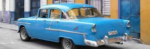 Cuba Fuerte Collection Panoramic - Cuban Blue Classic Car in Havana by Philippe Hugonnard