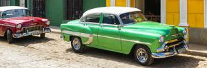 Cuba Fuerte Collection Panoramic - Cuban Green and Red Taxis by Philippe Hugonnard
