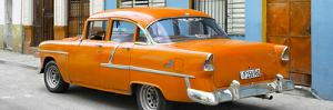 Cuba Fuerte Collection Panoramic - Cuban Orange Classic Car in Havana by Philippe Hugonnard