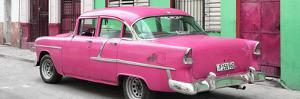 Cuba Fuerte Collection Panoramic - Cuban Pink Classic Car in Havana by Philippe Hugonnard