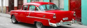 Cuba Fuerte Collection Panoramic - Cuban Red Classic Car in Havana by Philippe Hugonnard