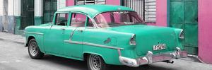Cuba Fuerte Collection Panoramic - Cuban Turquoise Classic Car in Havana by Philippe Hugonnard