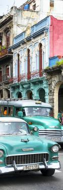 Cuba Fuerte Collection Panoramic - Green Classic Cars in Havana by Philippe Hugonnard