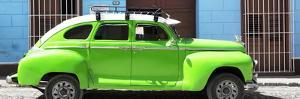 Cuba Fuerte Collection Panoramic - Green Vintage Car by Philippe Hugonnard