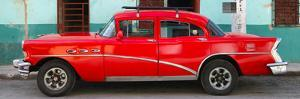 Cuba Fuerte Collection Panoramic - Havana Classic American Red Car by Philippe Hugonnard