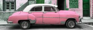 Cuba Fuerte Collection Panoramic - Havana's Pink Vintage Car by Philippe Hugonnard