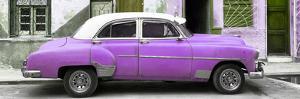 Cuba Fuerte Collection Panoramic - Havana's Purple Vintage Car by Philippe Hugonnard