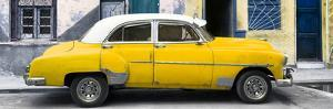 Cuba Fuerte Collection Panoramic - Havana's Yellow Vintage Car by Philippe Hugonnard
