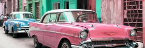 Cuba Fuerte Collection Panoramic - Old Cars Chevrolet Pink and Blue by Philippe Hugonnard