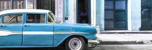 Cuba Fuerte Collection Panoramic - Old Classic American Blue Car by Philippe Hugonnard