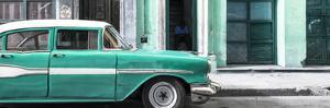 Cuba Fuerte Collection Panoramic - Old Classic American Green Car by Philippe Hugonnard