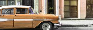 Cuba Fuerte Collection Panoramic - Old Classic American Orange Car by Philippe Hugonnard