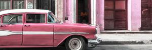 Cuba Fuerte Collection Panoramic - Old Classic American Pink Car by Philippe Hugonnard