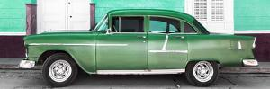 Cuba Fuerte Collection Panoramic - Old Green Car by Philippe Hugonnard