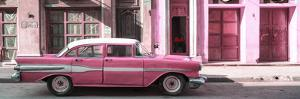 Cuba Fuerte Collection Panoramic - Old Pink Car in Havana by Philippe Hugonnard