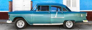 Cuba Fuerte Collection Panoramic - Old Teal Car by Philippe Hugonnard