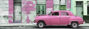Cuba Fuerte Collection Panoramic - Pink Vintage American Car in Havana by Philippe Hugonnard