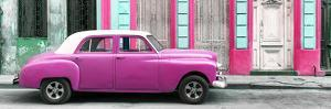 Cuba Fuerte Collection Panoramic - Pink Vintage Car in Havana by Philippe Hugonnard