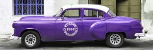 Cuba Fuerte Collection Panoramic - Purple Pontiac 1953 Original Classic Car by Philippe Hugonnard