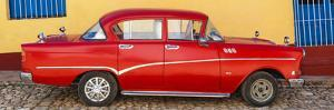 Cuba Fuerte Collection Panoramic - Red Classic Car in Trinidad by Philippe Hugonnard
