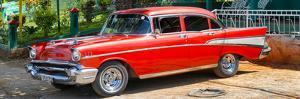 Cuba Fuerte Collection Panoramic - Red Classic Car in Vinales by Philippe Hugonnard