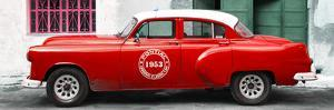 Cuba Fuerte Collection Panoramic - Red Pontiac 1953 Original Classic Car by Philippe Hugonnard