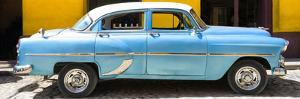 Cuba Fuerte Collection Panoramic - Retro Blue Car by Philippe Hugonnard