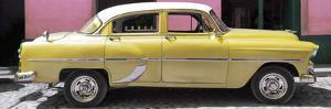 Cuba Fuerte Collection Panoramic - Retro Yellow Car by Philippe Hugonnard