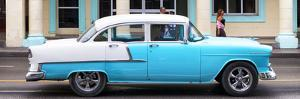 Cuba Fuerte Collection Panoramic - Skyblue Vintage Car by Philippe Hugonnard