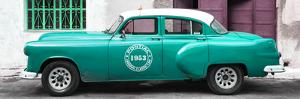 Cuba Fuerte Collection Panoramic - Turquoise Pontiac 1953 Original Classic Car by Philippe Hugonnard
