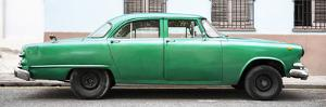 Cuba Fuerte Collection Panoramic - Vintage Green Car by Philippe Hugonnard