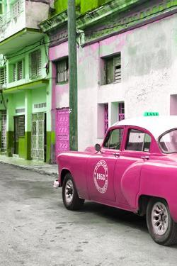 Cuba Fuerte Collection - Pink Taxi Car in Havana by Philippe Hugonnard