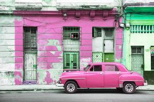 Cuba Fuerte Collection - Pink Vintage American Car in Havana by Philippe Hugonnard