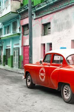 Cuba Fuerte Collection - Red Taxi Car in Havana by Philippe Hugonnard
