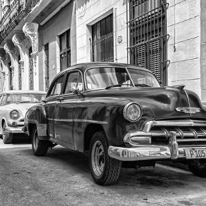 Cuba Fuerte Collection SQ BW - Two Chevrolet Cars II by Philippe Hugonnard