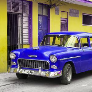 Cuba Fuerte Collection SQ - Classic American Blue Car in Havana by Philippe Hugonnard