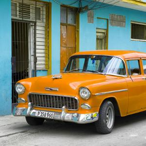 Cuba Fuerte Collection SQ - Classic American Orange Car in Havana by Philippe Hugonnard