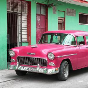 Cuba Fuerte Collection SQ - Classic American Pink Car in Havana by Philippe Hugonnard