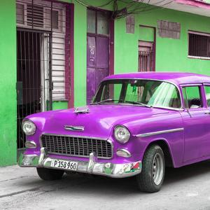 Cuba Fuerte Collection SQ - Classic American Purple Car in Havana by Philippe Hugonnard