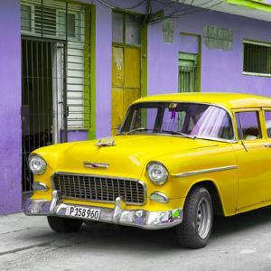 Cuba Fuerte Collection SQ - Classic American Yellow Car in Havana by Philippe Hugonnard
