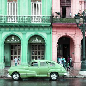 Cuba Fuerte Collection SQ - Colorful Architecture and Green Classic Car by Philippe Hugonnard