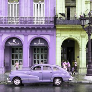 Cuba Fuerte Collection SQ - Colorful Architecture and Mauve Classic Car by Philippe Hugonnard