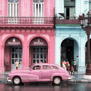 Cuba Fuerte Collection SQ - Colorful Architecture and Pink Classic Car by Philippe Hugonnard