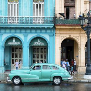 Cuba Fuerte Collection SQ - Colorful Architecture and Turquoise Classic Car by Philippe Hugonnard