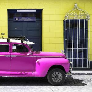Cuba Fuerte Collection SQ - Deep Pink Vintage Car by Philippe Hugonnard