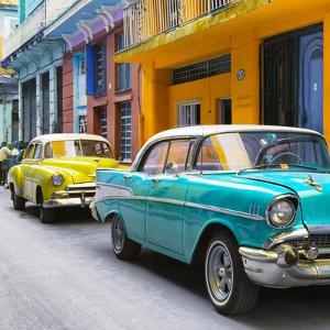 Cuba Fuerte Collection SQ - Old Cars Chevrolet Turquoise and Yellow by Philippe Hugonnard