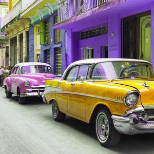 Cuba Fuerte Collection SQ - Old Cars Chevrolet Yellow and Pink by Philippe Hugonnard